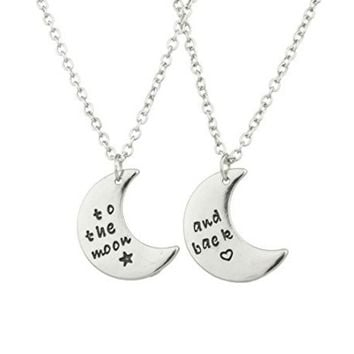 To The Moon & Back Best Friends BFF 2 PC Chain Charm Necklace SET