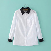 White Letter Embroidery Cotton Collar Pocket Long Sleeve Shirt