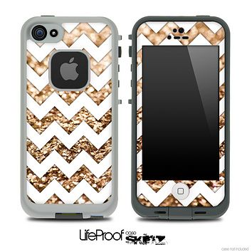 White Chevron Gold Glimmer Skin for the iPhone 5 or 4/4s LifeProof Case