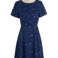 Yumi Quirky Mid-length Short Sleeves A-line Saddle Star Galactica Dress