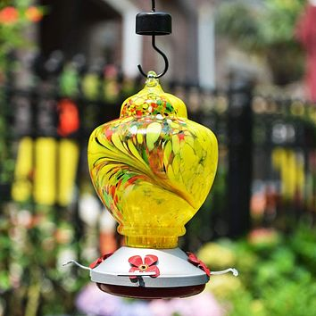 Yellow Hand Blown Glass Hummingbird Feeder with Perch - Holds 38 oz of Nectar