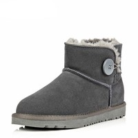 Ankle Button Sheep Skin Boot - Grey