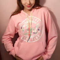 """""""Victoria's Secret """" PINK Women's Fashion Print Hooded Pullover Tops Sweater"""