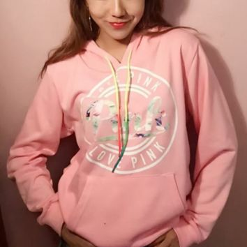 """Victoria's Secret "" PINK Women's Fashion Print Hooded Pullover Tops Sweater"