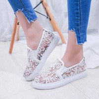 Lace Hollow Out Low Cut Casual Flats Shoes