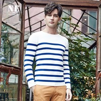 Stylish Stripes Round-neck Slim Knit Tops [7951299267]