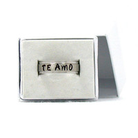 Te Amo Ring, Stainless Steel Ring, I Love You Ring, Personalized Ring, Spanish Love Ring, Hand Stamped Ring, Spanish Phrase Ring,