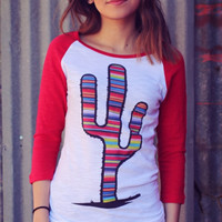 Serape Prickly Cactus Baseball Tee by Original Cowgirl Clothing Company  TJ-1927
