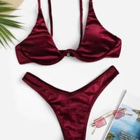 Velvet Top & High Leg Bikini Set
