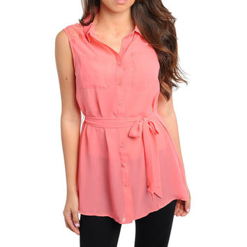 Button Down Lace Duster Top in Coral
