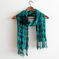Men's scarves, Striped men's scarf, Plaid scarf men, Green Black scarves, Organic fabric, Green turquoise scarf, Male bar pattern scarf