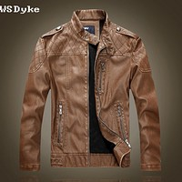 Autumn Winter Slim Stand Collar Leather Jacket For Men