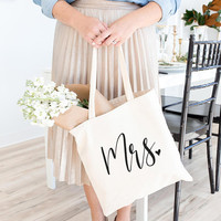 Mrs Tote Bag, Bridal Tote, Future Mrs, Mr and Mrs, Tote Bag, Canvas Bag, Canvas Tote Bag, Bridesmaid Gift, Bridal Party Gift, Gift For Her