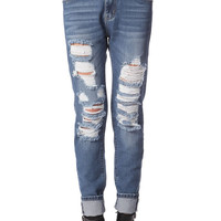Straight leg jeans with distressing