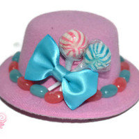 Mini Pink and Blue Candy Top Hat, Veil, Bridesmaid, Candy, Purple, Mini Top Hat, Wedding, Bridesmaid, Accessory, Pink Wedding, Bridal Party