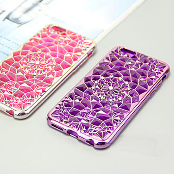 Phone Case For iPhone 7 5 5S 6 6s Plus Plating TPU Sun Flower Design Mobile Phone Cover Bag Cases For iPhone 6S 7 Plus