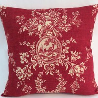 "Red Toile Pillow, Waverly Country House Rouge, 19"" Square with Ticking Stripe Back, Cream Bird Cameo Floral Fruit, Cover Only / Insert Incl."
