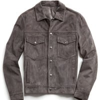 Suede Snapfront Dylan Jacket in Grey