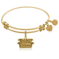 Expandable Bangle in Yellow Tone Brass with Central Perk Couch Symbol
