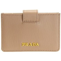 Prada Vitello Move Cipria Beige Accordion Card Case 1MC211