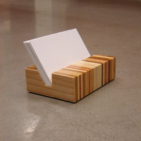 Retro Eames Era Inspired Minimalist Wood Business Card Holder