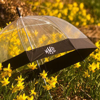 Monogrammed dome umbrella black and clear, Dome umbrella, Personalized umbrella clear and black, umbrella black and clear