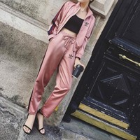 """Adidas"" Women Casual Multicolor Stripe Long Sleeve Zip Cardigan Baseball Clothes Trousers Set Two-Piece Sportswear"