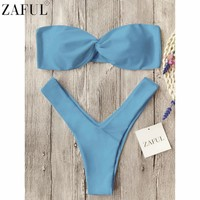 ZAFUL Newest Summer Sexy Bikini Women Swimwear Bandeau Twist Front Thong Bikini Set Beach Swimsuit Push Up Bathing Suits Biquini
