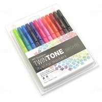 JetPens.com - Tombow TwinTone Double-Sided Marker - 0.3 mm / 0.8 mm - Brights - 12 Color Set