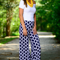 Wait For You Pants, Navy/White