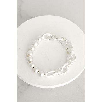 Chain and Beads Bracelet in Silver Tone