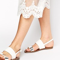 New Look Freshen Double Strap Metallic Flat Sandals