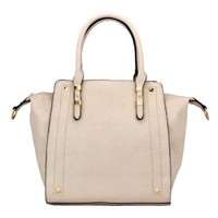 MG Collection LEA Beige Top Handle Office Tote Style Satchel Purse Hand Bag
