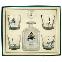 Lighthouse Decanter Set with Old Fashioned Glasses by Richard E. Bishop