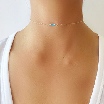 Tiny Turquoise Choker Necklace