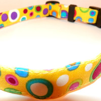 """Yellow Dog Collar - Bright Colored Shapes Summertime, Springtime, SIZE XS 7-11"""" 