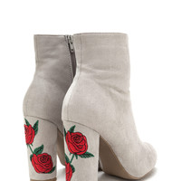 Rad Roses Chunky Embroidered Booties GoJane.com