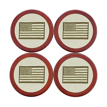 Armed Forces Flag Needlepoint Coasters by Smathers & Branson