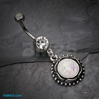 Vintage Opal Filigree Belly Button Ring