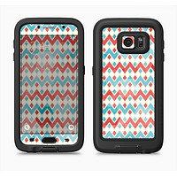 The Vintage Red & Blue Chevron Pattern Full Body Samsung Galaxy S6 LifeProof Fre Case Skin Kit