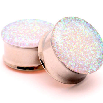 """Embedded Pearl Glitter Plugs gauges - 00g, 7/16"""", 1/2, 9/16, 5/8, 3/4, 7/8, 1 inch"""