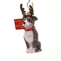 Holiday Ornaments DOG WITH ANTLERS ORNAMENT Christmas Puppy Nb1261 Pitbull