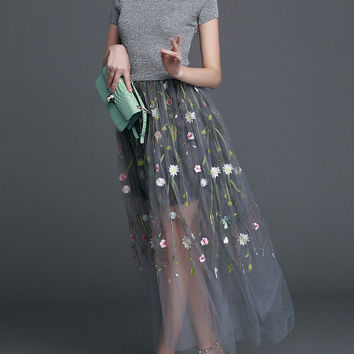 Grey Short Sleeve Knit Contrast Mesh Flowers Embroidered A-Line Maxi Dress