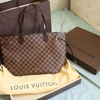 LV Louis Vuitton Fashionable Women Personality Leather Handbag Tote Shoulder Bag And Wallet Two Piece A Set