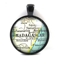 Madagascar Pendant from Vintage Map, in Glass Tile Circle