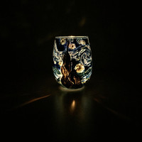 Starry Night Candle Holder: Hand Painted Van Gogh Glass/ Candle Holder