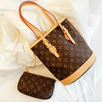 Hipgirls LV Louis vuitton Fashion new monogram leather handbag shoulder bag crossbody bag two piece suit