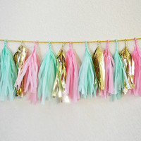 Garland tassel mint, pink, and metallic gold, tissue paper tassel // birthday // wedding // baby shower