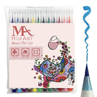 Brush Pens Set - 12 Colors - Soft Flexible Tip, Durable, High Quality, Create Watercolor Effect - Best for Adult Coloring Books, Manga, Comic, Calligraphy - Dual Thickness - MozArt Supplies