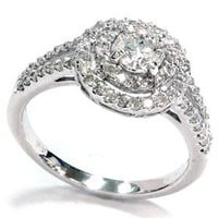 1 1/2ct Pave Double Halo Ring 14K White Gold